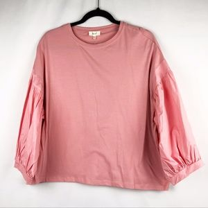 Love J Coral Puffy sleeved blouse Large -NWT